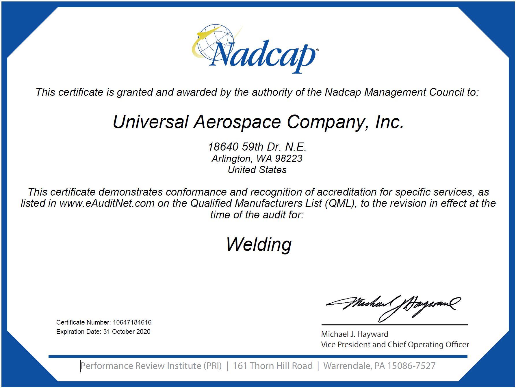 UAC NADCAP Welding Cert Oct 2020